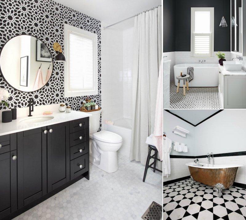 Carrelage blanc a motif livraison - Faience salle de bain noir et blanc ...