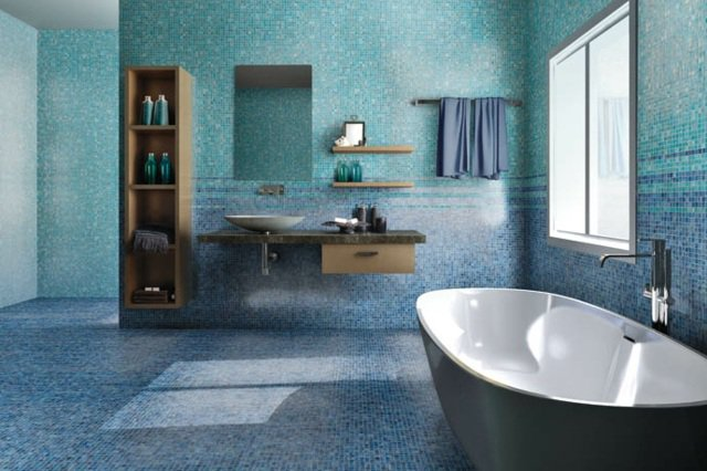 Carrelage bleu gris salle de bain - livraison-clenbuterol.fr