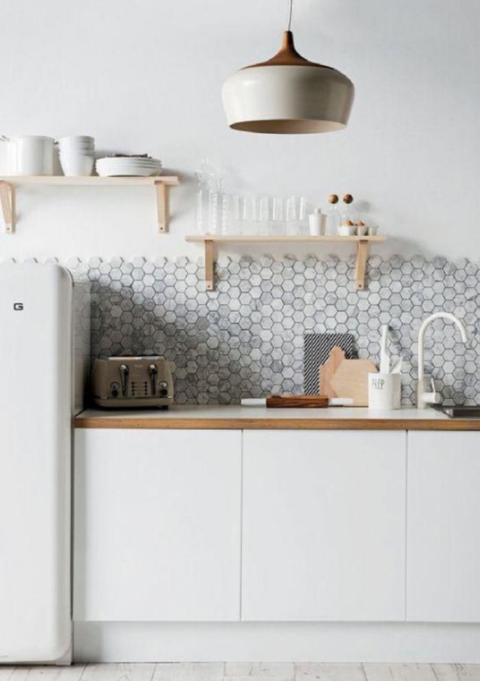 Carrelage mural cuisine blanc