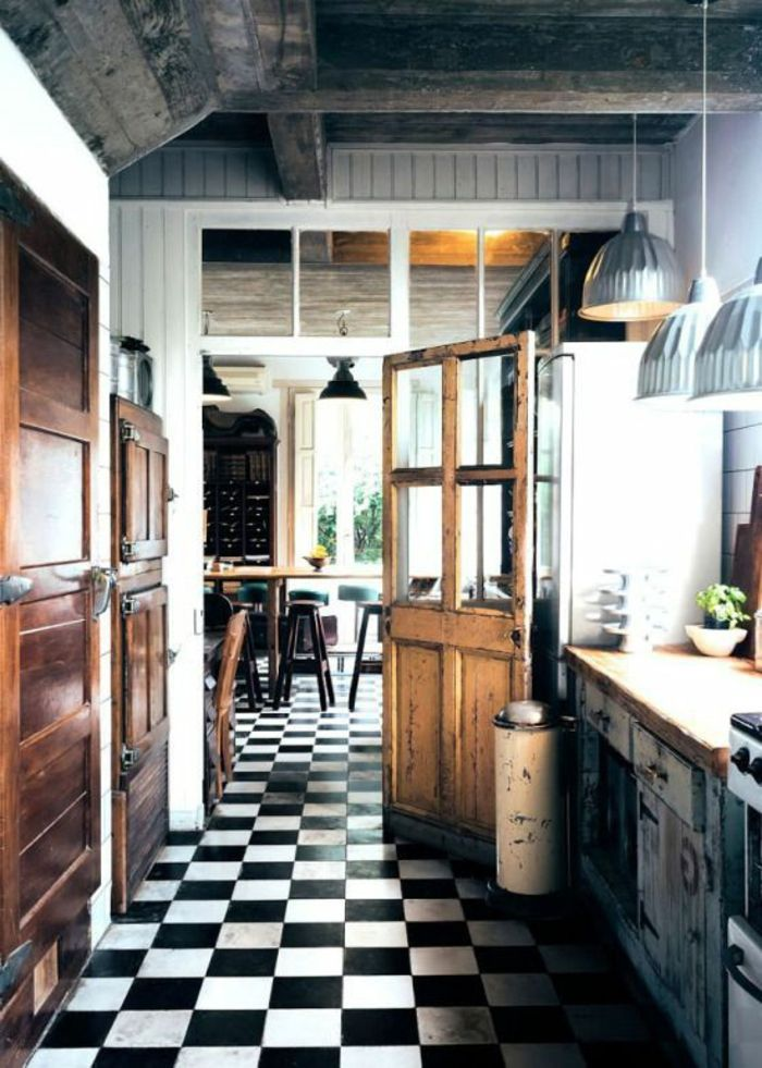 Carrelage cuisine sol noir et blanc