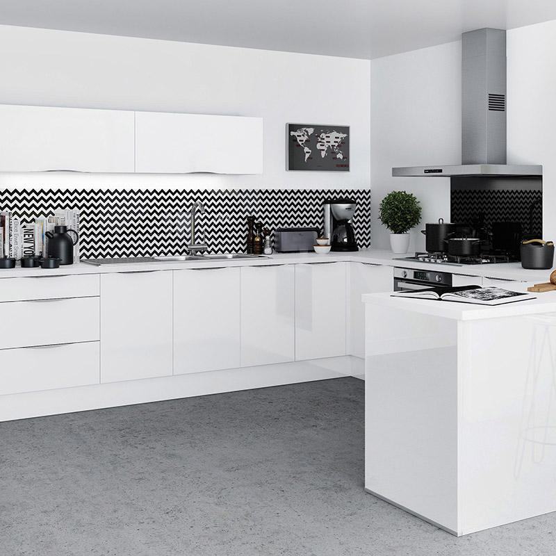 Crédence Cuisine Blanche Et Bois: Cuisine Plan De Travail Gris Meuble Blanc