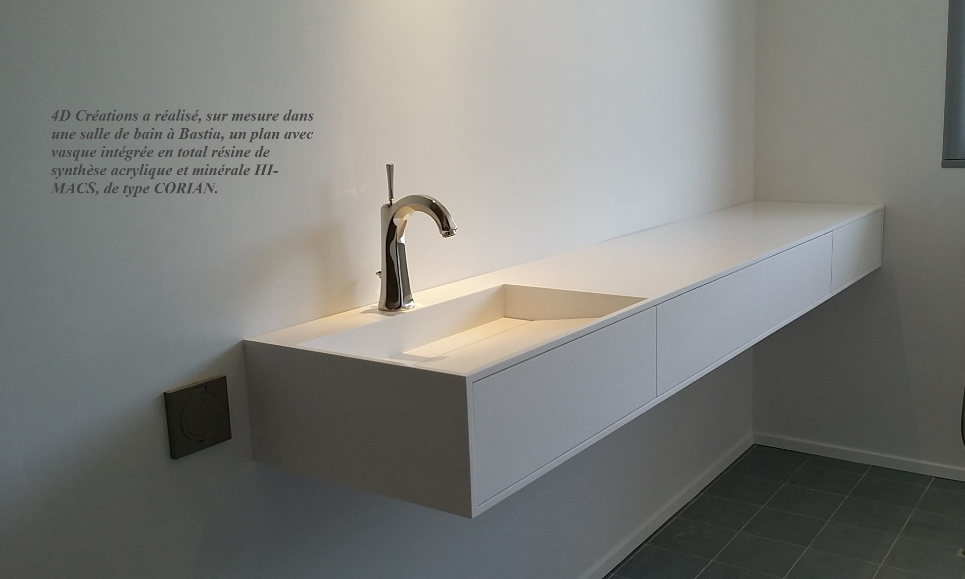 Plan de travail corian evier integre livraison - Corian salle de bain ...