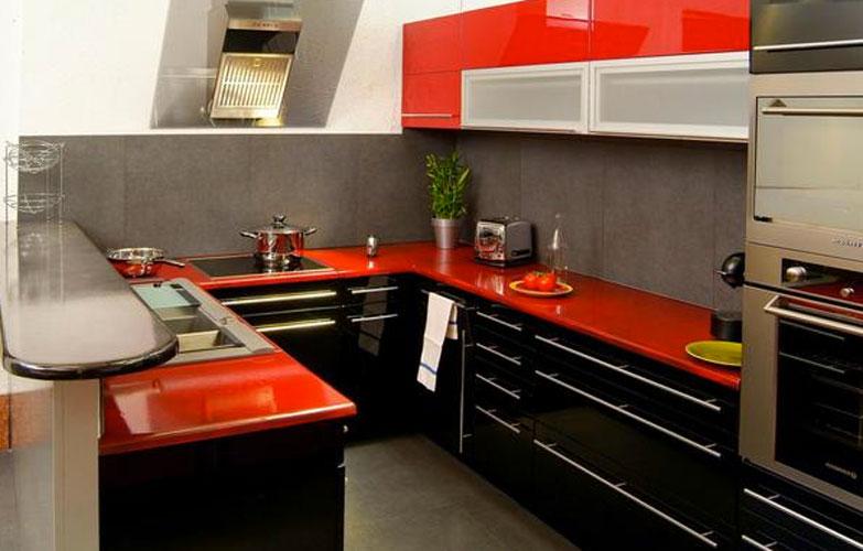 Cuisine rouge plan de travail gris - livraison-clenbuterol.fr