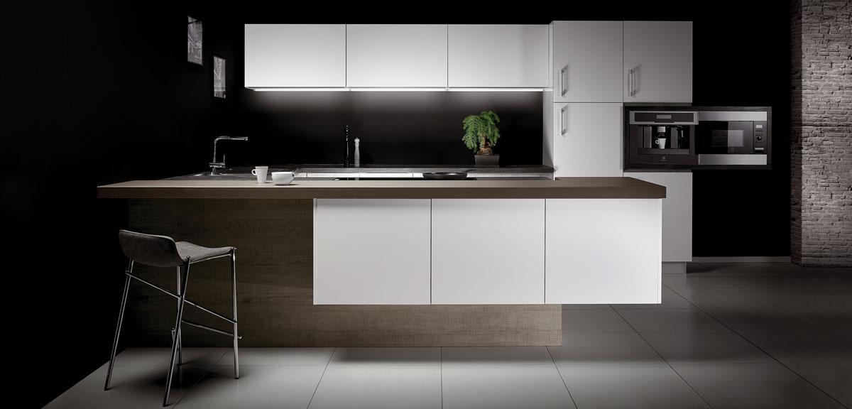 Cuisine blanche plan de travail quartz gris livraison - Cuisine en bois blanc ...
