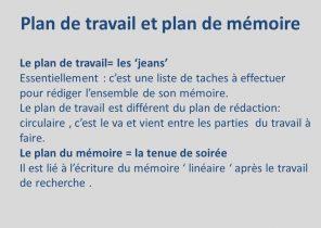 Un plan de travail pour un mémoire
