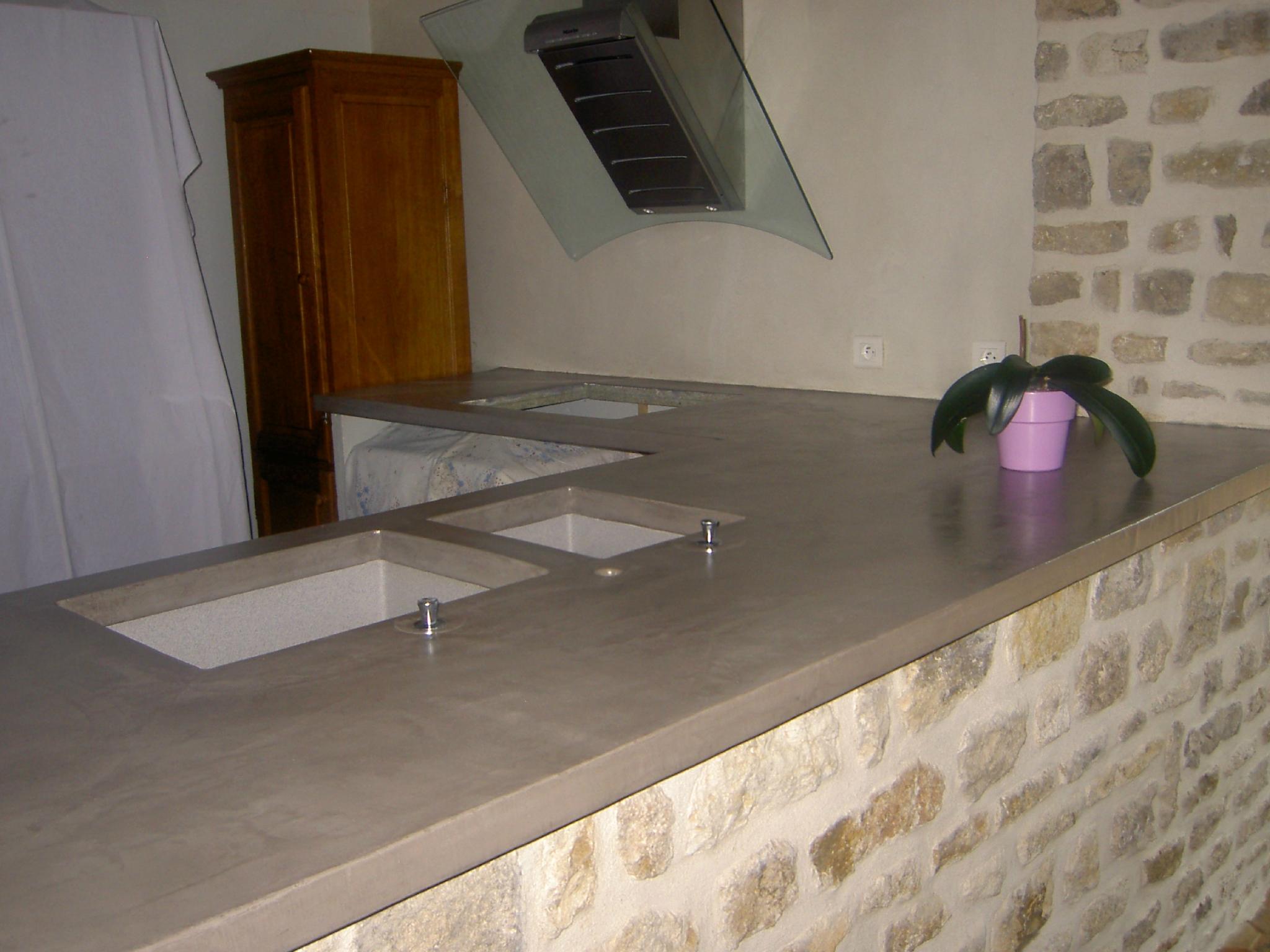Plan de travail beton quartz livraison - Beton cire sur carrelage plan de travail cuisine ...