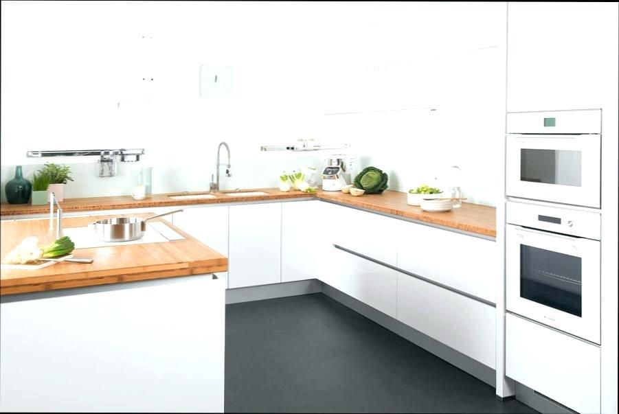 Cuisine blanche plan de travail bois sol gris - Cuisine bois et blanc laque ...