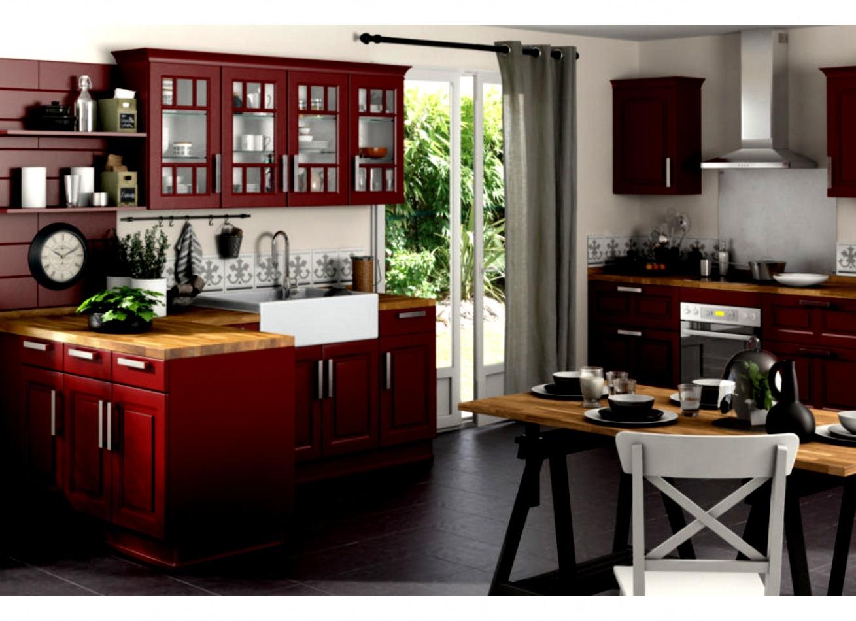 cuisine rouge plan de travail bois livraison. Black Bedroom Furniture Sets. Home Design Ideas
