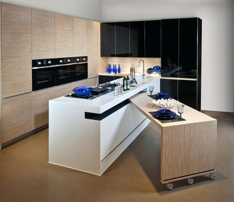 Meuble cuisine plan de travail escamotable livraison - Meuble cuisine avec table escamotable ...