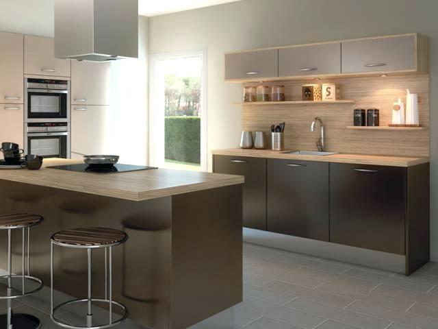 cuisine taupe avec plan de travail bois livraison. Black Bedroom Furniture Sets. Home Design Ideas