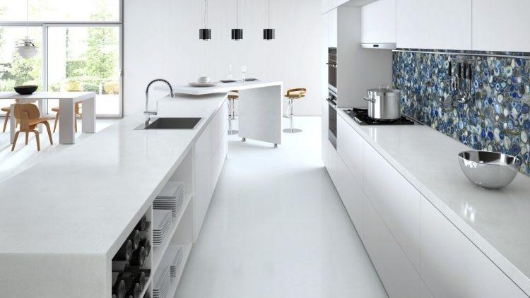 Plan de travail quartz blanc marbre
