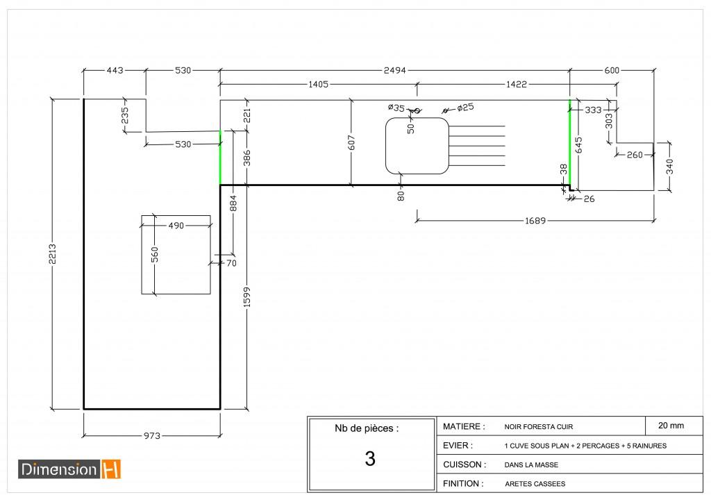 Dimension plan de travail pour cuisine livraison - Dimensions plan de travail cuisine ...