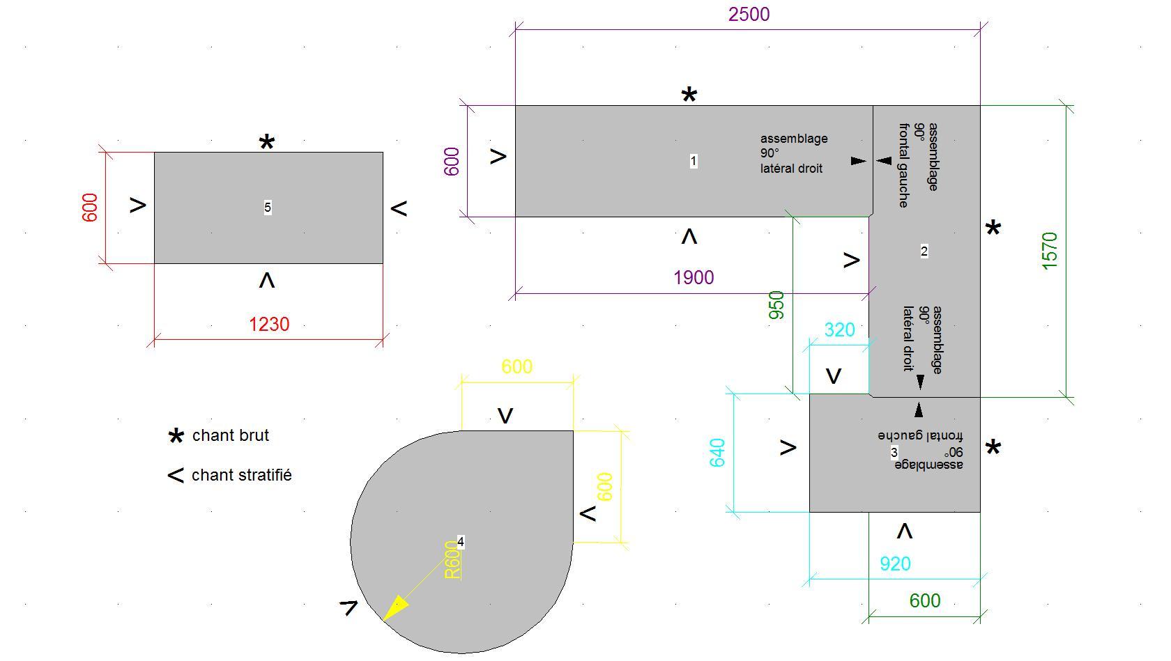 Dimension hauteur plan de travail livraison - Dimensions plan de travail cuisine ...
