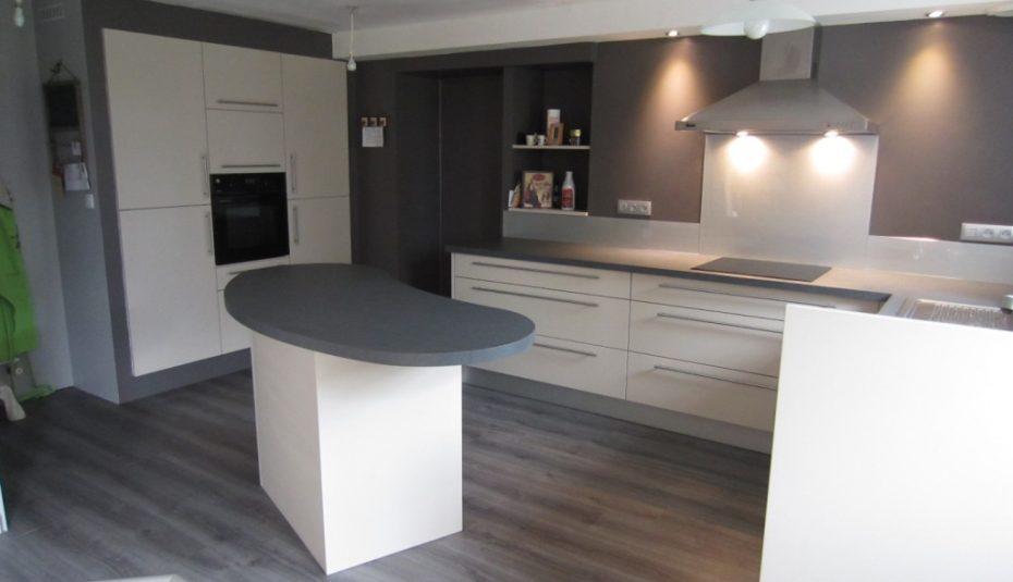 cuisine plan de travail noir meuble gris livraison. Black Bedroom Furniture Sets. Home Design Ideas