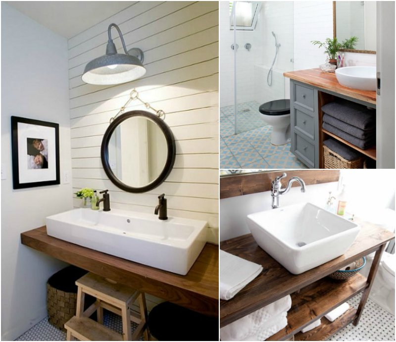 Meuble salle de bain blanc plan de travail bois - livraison ...