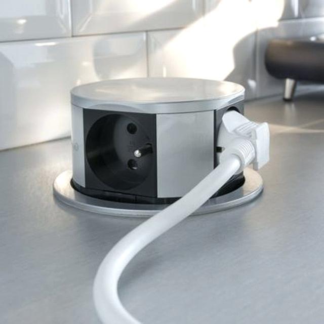 Prise lectrique escamotable pour plan de travail ou - Prise electrique encastrable cuisine ...