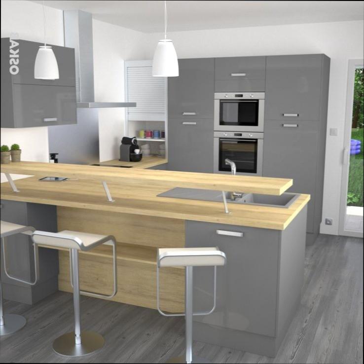 cuisine facade grise plan de travail bois livraison. Black Bedroom Furniture Sets. Home Design Ideas